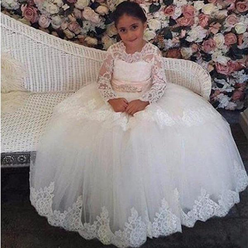 Tiered Flower Girl Dresses A Line Jewel Lace Applique Girls Pageant Dresses With Beaded Sash For Wedding Party