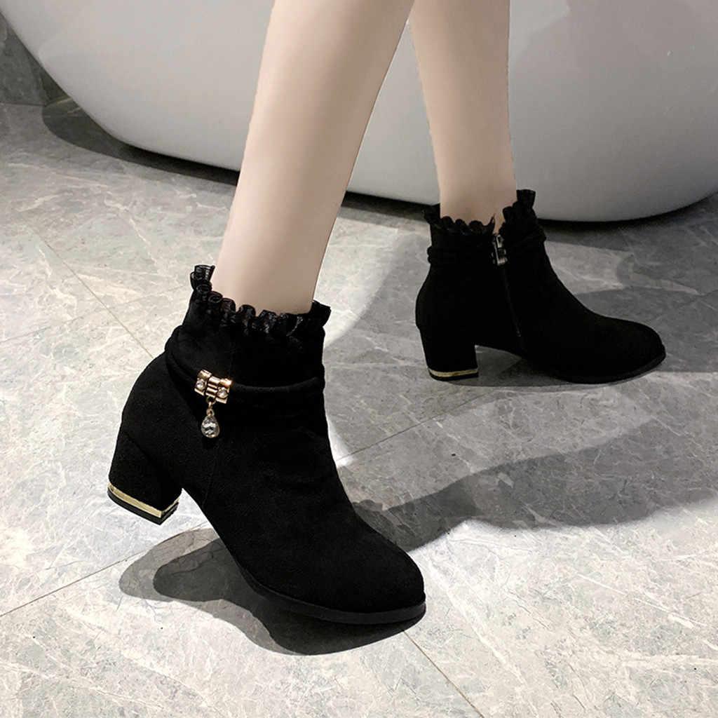 Elegant ข้อเท้ารองเท้าผู้หญิงฤดูหนาวลูกไม้สั้น Boot 2019 เลดี้แฟชั่นพรรคส้นสูงรองเท้าหนังนิ่ม Botas คลาสสิกสีดำ