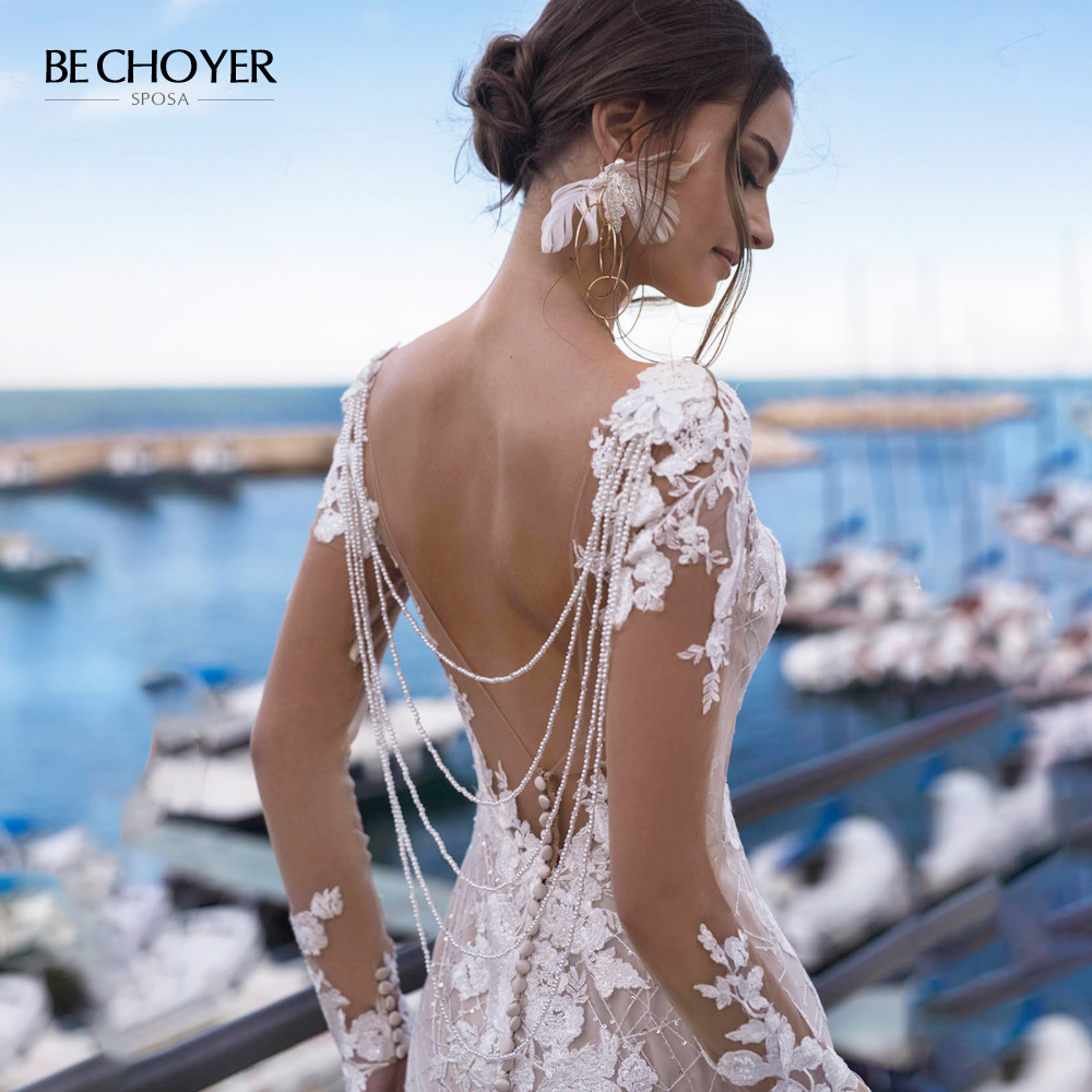 Wedding Dress Long Sleeve Lace 3D-Floral Mermaid Appliques Beads Backless Princess BE CHOYER N162 Bride Gown Vestido De Noiva