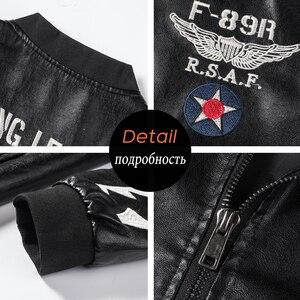 Image 5 - Männer Herbst Neue Casual Motorrad Vintage Leder Jacken Mantel Männer Mode Biker UNS Armee Bomber Stickerei PU Leder Jacke Männer