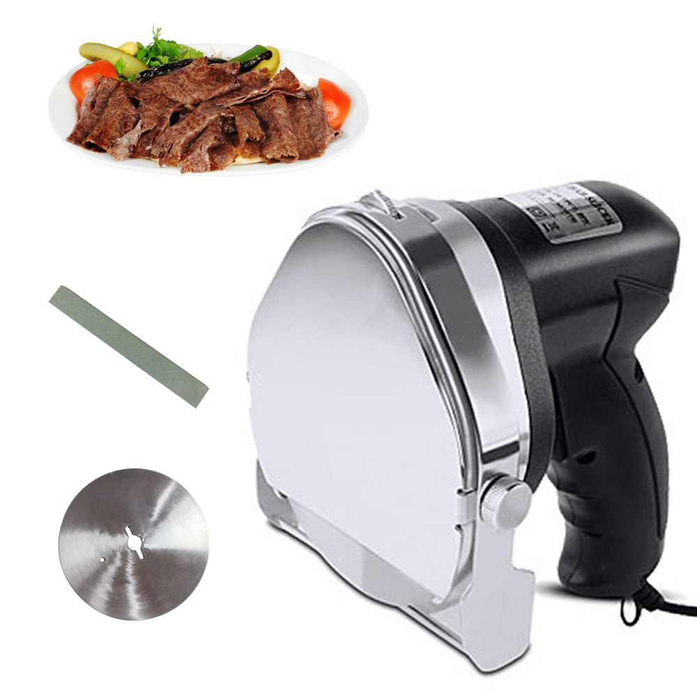 Commercial Electric Kebab Knife With Adjustable Blade Professional Sliced Meat Gyros Cutter Blade Meat Slicer Round For Kebab
