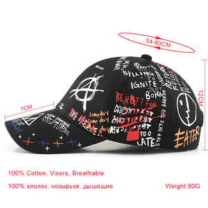 Image 5 - SLECKTON 100% Cotton Hip Hop Baseball Cap for Men and Women Casual Graffiti Snapback Hat Unisex Fashion Hats Peaked Caps Summer