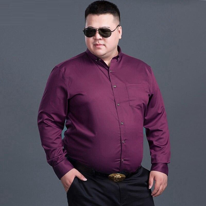 Winter Men Large Size Big Purple Shirts Long Sleeve 8XL 10XL Autumn Dress Shirts Wedding 9XL 12XL Formal Stage Shirt 150KG Black