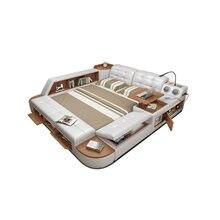 Мягкая оправа для кровати из натуральной кожи с подсветкой массажная