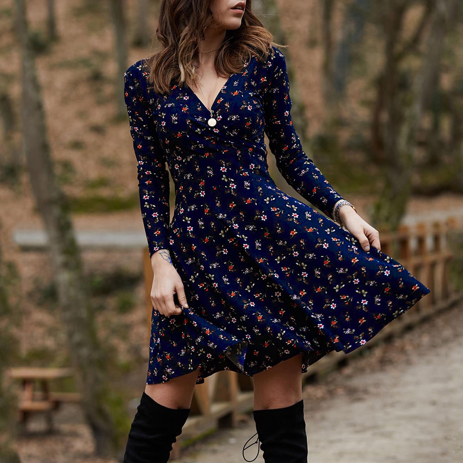 Женское винтажное платье с цветочным принтом, зеленое повседневное ТРАПЕЦИЕВИДНОЕ ПЛАТЬЕ С Длинным Рукавом, V-образным вырезом и цветочным ...