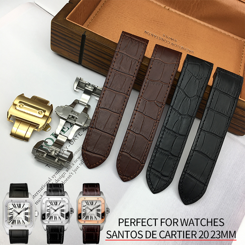 20mm 23mm High Quality Italian Cowhide Watch Strap Folding Buckle Leather Watchband Suitable For Santos Series Watch