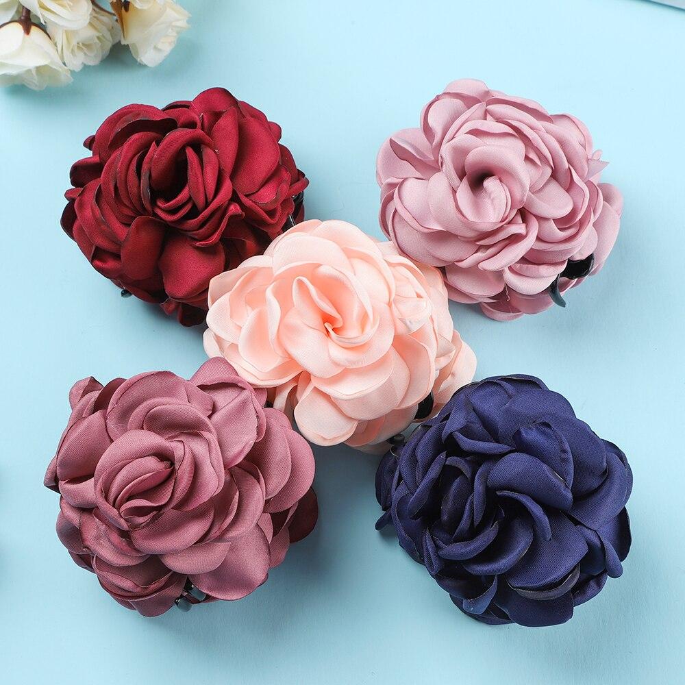 Корейский большой тканевый цветок роза хвостик Краб зажим для
