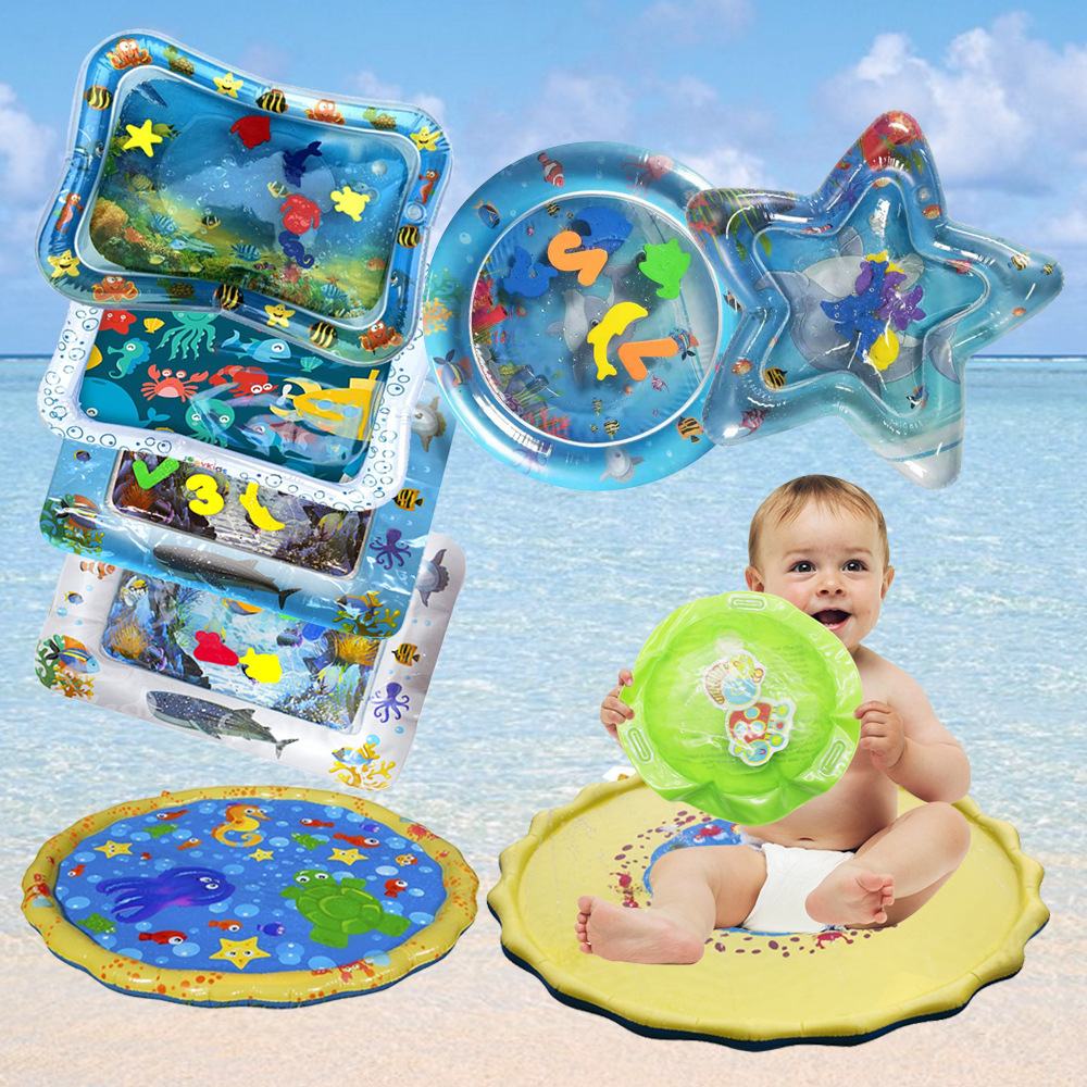 Baby Inflatable Water Play Mat Infant Summer Beach Water Mat Toddler Fun Activity Play Toys for Baby Inflatable Water Play Mat Infant Summer Beach Water Mat Toddler Fun Activity Play Toys for Sensory Stimulation Motor Skills
