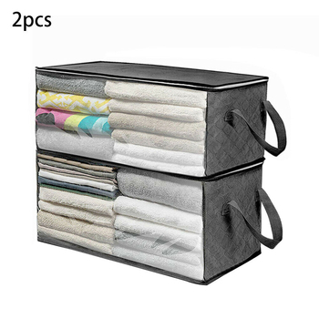 2pcs/set Container Sweater Folding Quilt Storage Box Closet Bag Home Luggage Moisture Proof Organizer Zipper Clothes Blanket