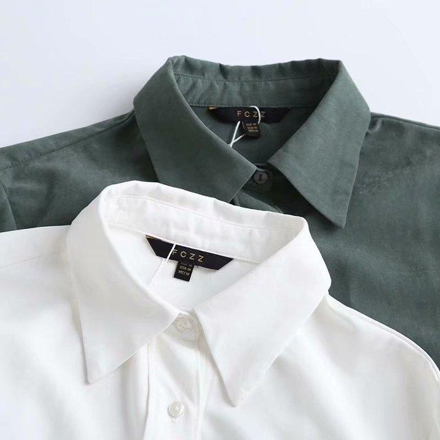 ZA 2020 New Fashion Women Solid color chiffon shirt Turn down Collar Blouses Long Sleeve Chiffon Shirt Casual Loose Tops 4