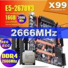 Atermiter X99 D4 anakart set combos Xeon E5 2678 V3 LGA2011 3 CPU 2 adet X 8GB = 16GB 2666MHz DDR4 REG ECC RECC hafıza