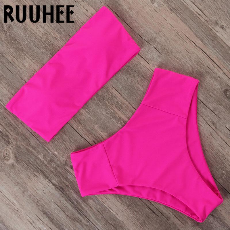 RUUHEE High Waisted Neon Bikini 2020 Woman Bandeau Bathing Suit Mayo Push Up Swimwear Tube Top Sexy Two Piece Swimsuit For Women