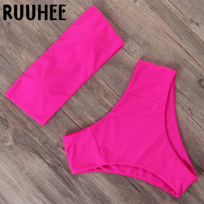 Ruuhee Berpinggang Tinggi Neon Bikini 2020 Wanita Bandeau Pakaian Mayo Push Up Baju Renang Tabung Atas Seksi Dua Piece Swimsuit untuk Wanita