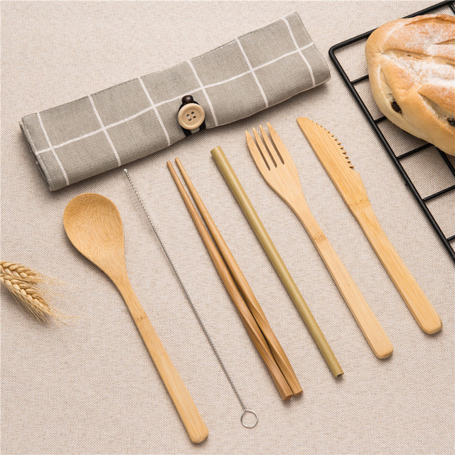 Tableware Set Bamboo Cutlery Set Wood Straw with Travel Cloth Bag Wooden Spoon Fork Knife Dinnerware Set Wholesale 1