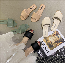 Summer ladies mules shoes fashion leather design slippers sandals flat slippers ladies shoes summer women moxxy summer retro leather slippers women printing mules loafers slip on flat sandals black ladies shoes woman zapatos m