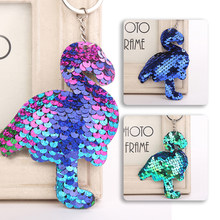 Glitter Sequin Keychain Animal Mermaid Flamingo Keyring Bags Pendant Charms Decoration Accessories Key Ring Kids Party Gifts(China)