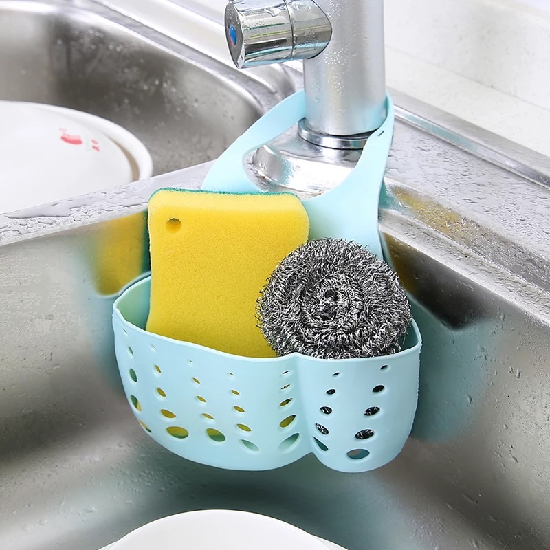 Kitchen Sink Sponge Hanging Pvc Shelving Rack Drain Faucet Storage Pail Shelves 7 Colors Snap-on