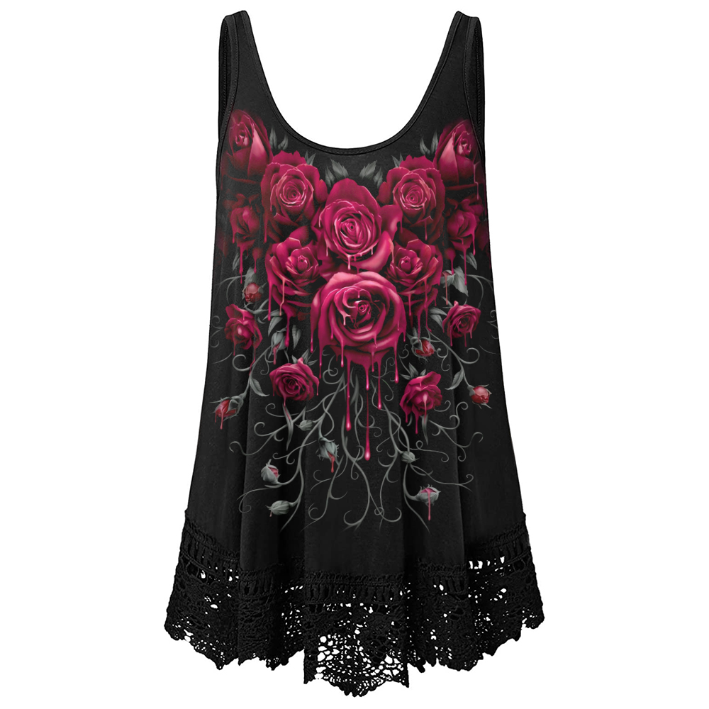 Strap Top Women Basic Black Cami Sleeveless floral printed Gothic Tank Tops Women's Summer 2021 Loose Camisole Plus Size D30