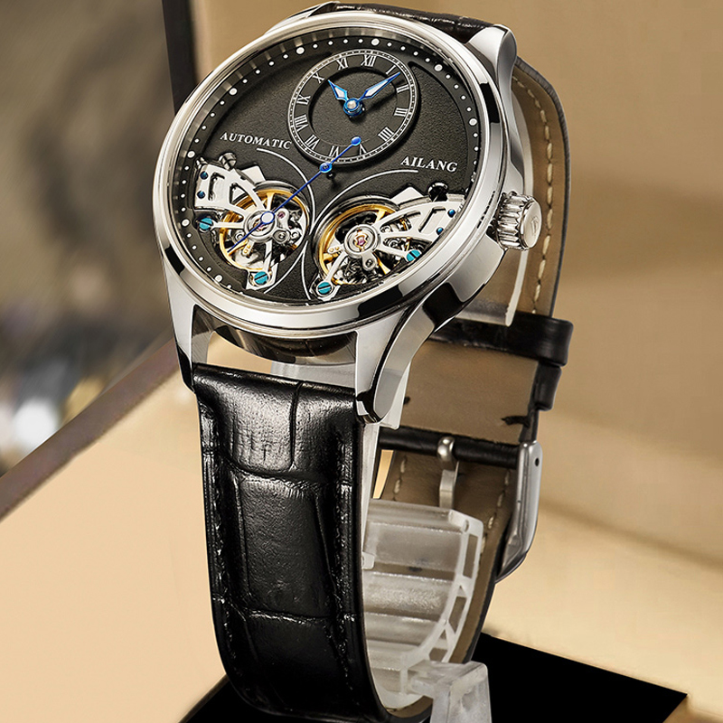 2020 New AILANG Brand Men Automatic Mechanical Watches Top Leatehr Waterproof Steampunk Watches Mens Skeleton Clock Rome Relogio