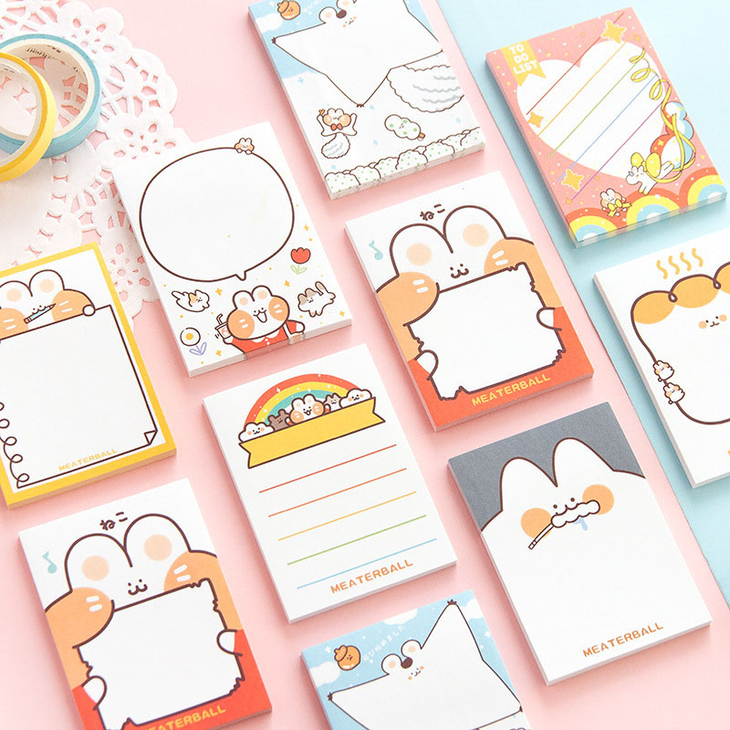 Kawaii Cat Sticky Notes Cute Cartoon Memo Pads Writing Stickers For Kids DIY Stationery School Office Supplies