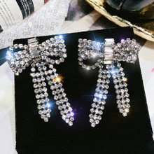 Fashion exquisite Chic Shimmer bow knot Cubic Rhinestone Crystal Earring drop Earrings For Women fashion jewelry