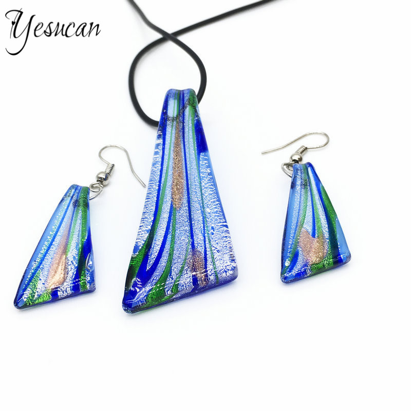 Yesucan Drop-Earrings Lampwork-Glass Necklace Glass-Pendant Party-Jewelry Gift Dangle