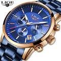 LIGE mode montre bleue hommes montres en acier inoxydable imperméable marque de luxe montre à Quartz hommes Relogio Masculino chronographe