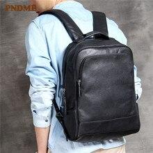 PNDME casual luxury soft cowhide men's women's laptop backpack fashion high quality genuine leather teens balck travel bagpack