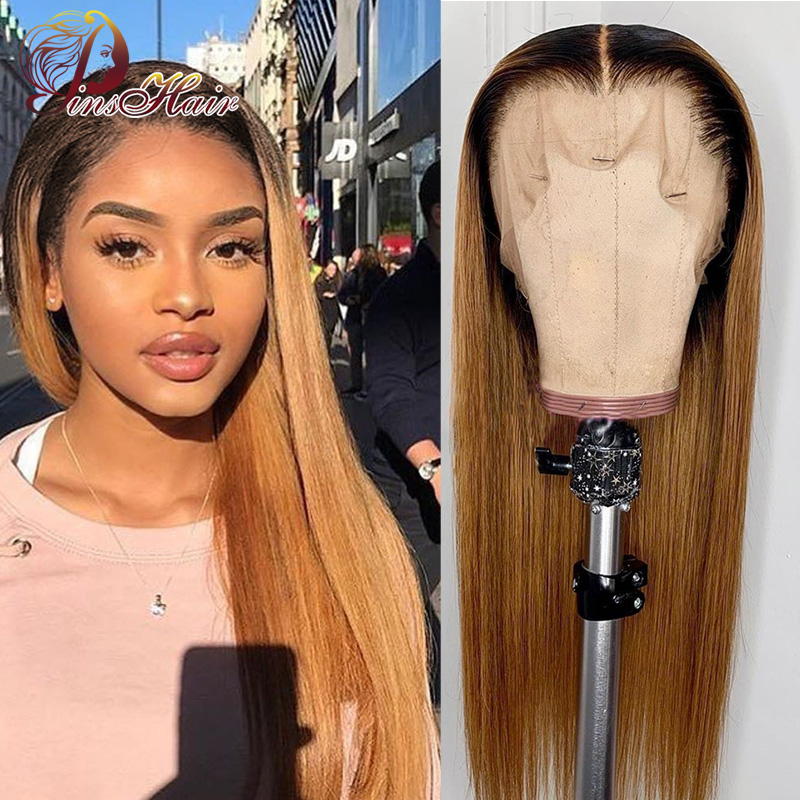 Ombre Honey Blonde Wig 13*4 Lace Front Wigs Brazilian Straight Hair Lace Front Human Hair Wigs For Black Women Pinshair Non-remy