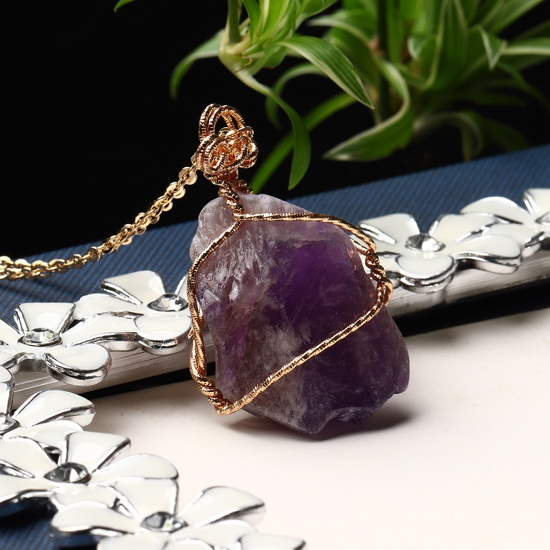 1PC Natural Crystal Rose Quartz Pendant Quartz Crystal Mineral Jewelry Couple Decoration Stone Collection Necklace Ornament Gift