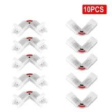 L forma 2 pinos tira conector 3/4pin 8/10mm ângulo conectores ajustáveis para 3528 5050 rgb led strip luzes 90 graus canto