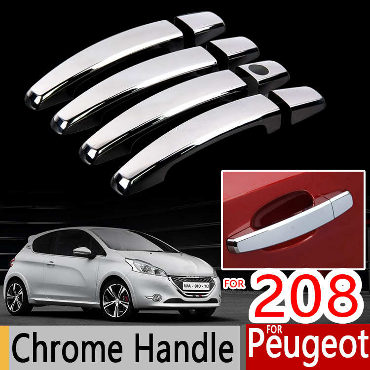 <font><b>Chrome</b></font> Handle Cover Trim Set for <font><b>Peugeot</b></font> <font><b>208</b></font> 2012 2013 2014 2015 2016 2017 2018 2019 Active Allure GTI Car Accessories Stickers image