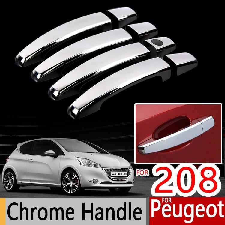 Chrome Handle Cover Trim Set For Peugeot 208 2012 2013 2014 2015 2016 2017 2018 2019 Active Allure GTI Car Accessories Stickers