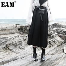 2019 [EAM] 1H069 ハイウエスト黒ブリーフプリーツロング気質半身スカート女性のファッション潮の全試合春の新作秋
