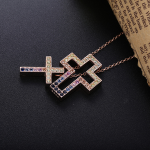 Image 3 - Slovecabin Pink Gold Long Chain D Leter Cross Colorful AAA Zircon Pendant Necklace 925 Sterling Silver JapanWomen Luxury Jewelry