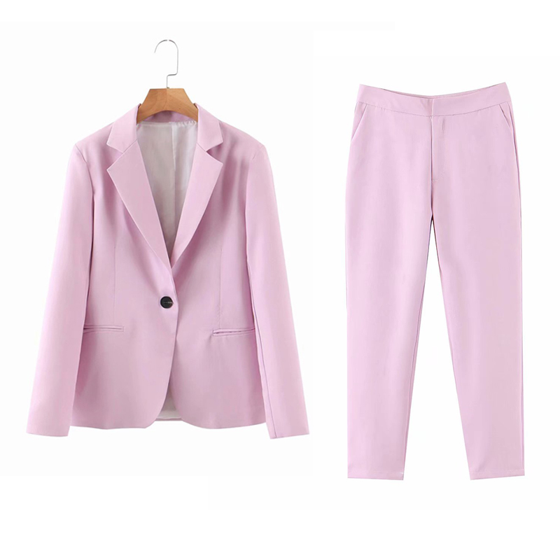 Women Solid OL Pants Suits Two-pieces Sets 2020 Summer Single Button Blazers And Pants Female Casual Elegant 2 Piece Set Clothes