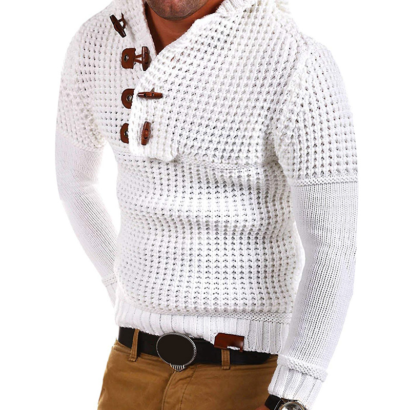 Plus Size Winter Men's Knitted Casual Sweater Hooded Pullover Top Knitwear Blouse Keep Warming TH36