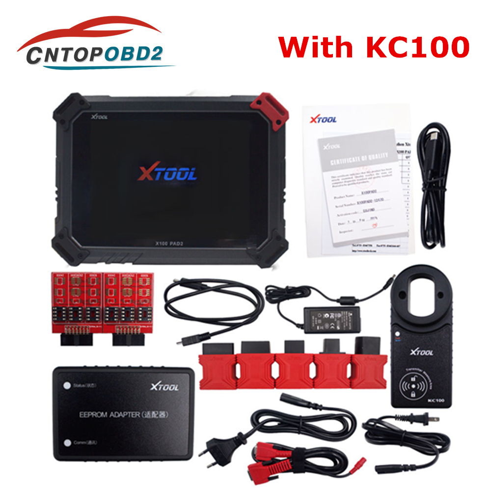 Original XTOOL X100 PAD2 Pro With KC100 With KC100 Auto Key Programmer OBD2 Car Diagnostic Tool for VW for Audi 4th 5th Immo DHL