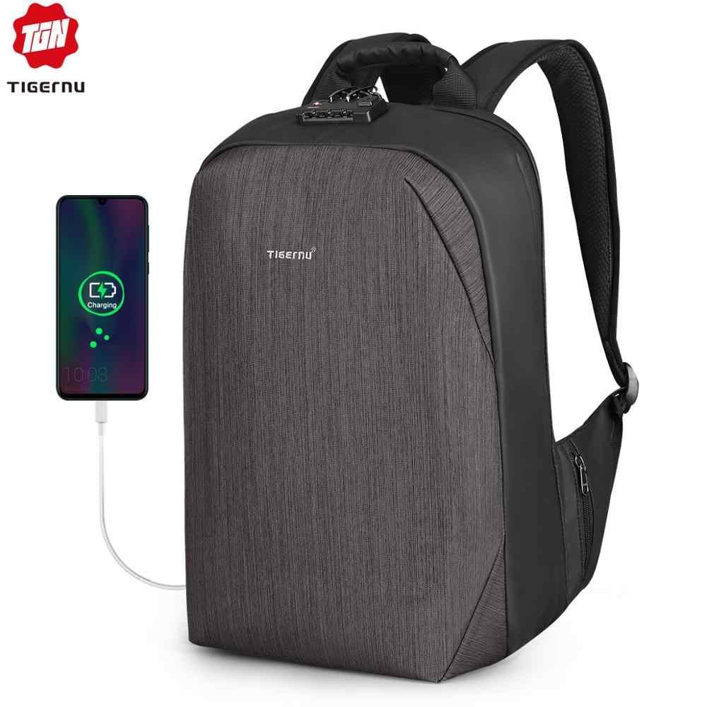 """2020 Tigernu yeni Anti hırsızlık 15.6 """"Laptop sırt çantası erkekler büyük kapasiteli USB şarj iş sırt çantaları erkek ücretsiz çanta ile moda"""