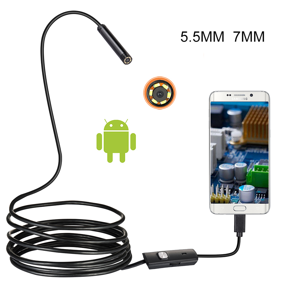 5,5mm 7mm HD Flexible IP67 Wasserdichte Inspektion Endoskop Kamera Endoskop Für PC Android Notebook <font><b>Smartphone</b></font>/Autos image
