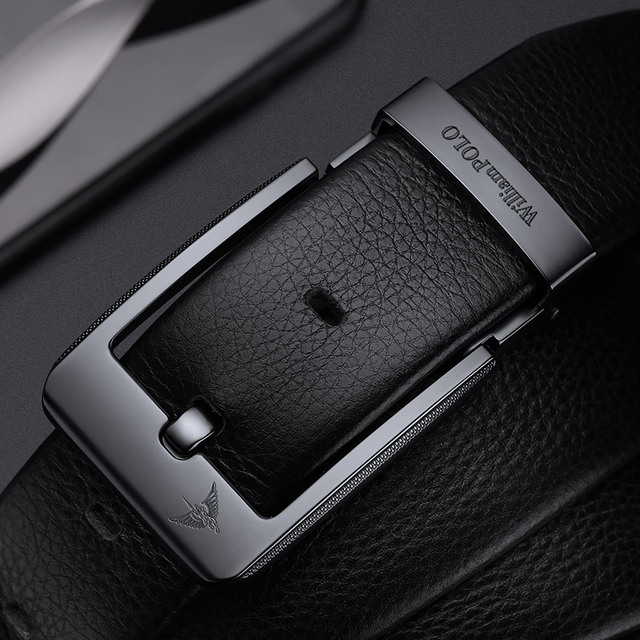 WilliamPolo Cowskin leather luxury strap male belts for men new fashion classice vintage pin buckle men belt High Quality 3