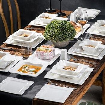 MALACASA Series Mario 28 Piece Porcelain Dinner Set with 6*Bowl Dessert Soup Dinner Plate 2*Salt Shaker Set 2 Rectangular Plate 1
