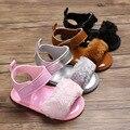 2019 новый стиль 0-12 месяцев Детские сандалии для девочек мягкая подошва ПУ дышащая пушистая детская обувь поддержка