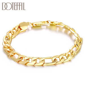 DOTEFFIL 925 Sterling Silver 18K Gold 8mm Classic Bracelet For Women Man Wedding Engagement Party Fashion Jewelry