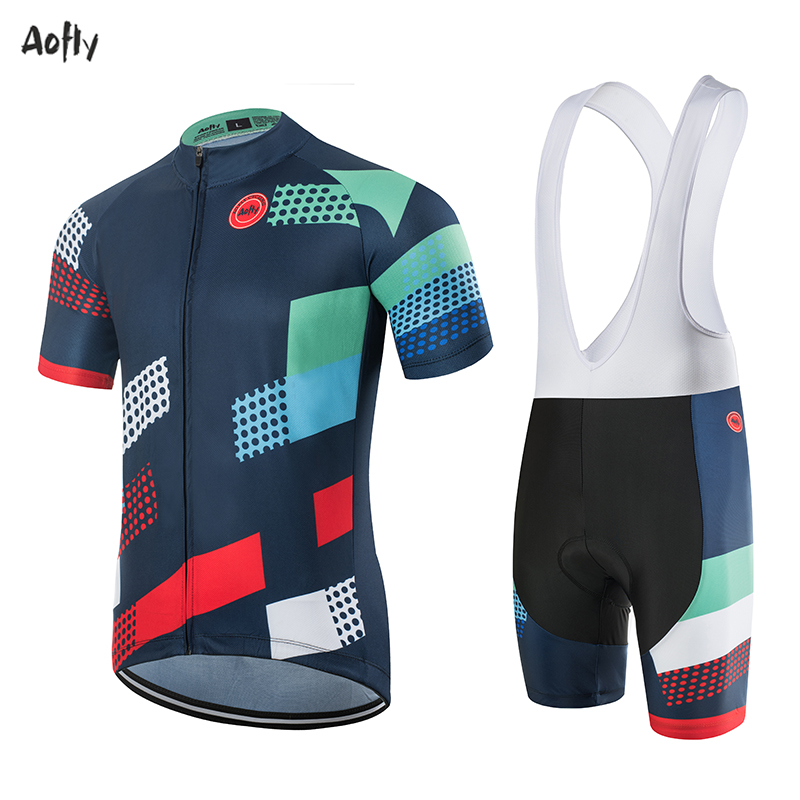 Aofly Cycling Jersey Pro Team Bike Jersey Shirt Mtb Bicycle Cycling Clothing Cube Roupa Ropa Maillot Ciclismo Hombre Blue Circle