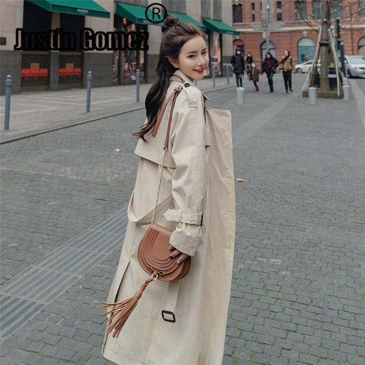 New Fashion Autumn Spring 2019 Women's Coat Slim High Quality Long Knee-length Double-breasted Mid-long Trench Coat With Belt