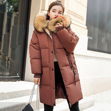 Winter Jacket Women Fashion Big Fur Belt Hooded Thick Down Padded Cotton Parkas X-Long Female Coat Warm Outwear 2019 Clothing
