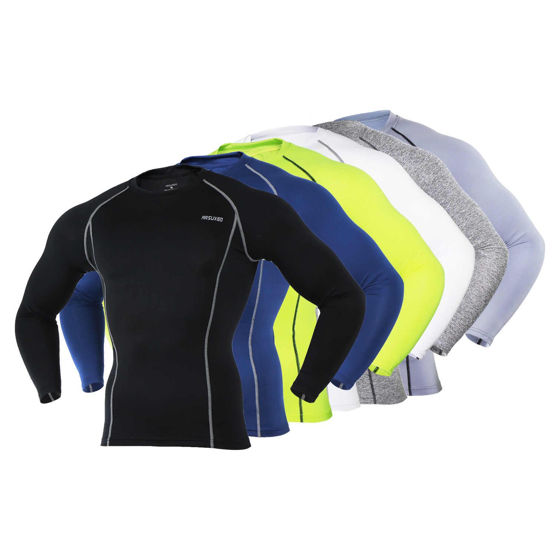 Ciclismo hombres de capa Base de deportes ropa interior de manga larga de compresión apretado camiseta de Running gimnasio de levantamiento de peso camisas