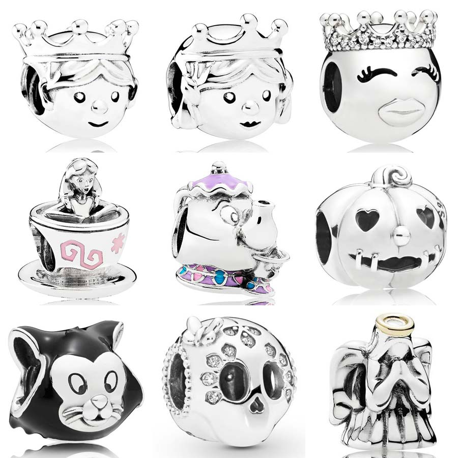 Precious Princess & Prince Mrs Potts And Chip Alice In Wonderland TeaCup Beads 925 Silver Charm Fit Pandora Bracelet Diy Jewelry