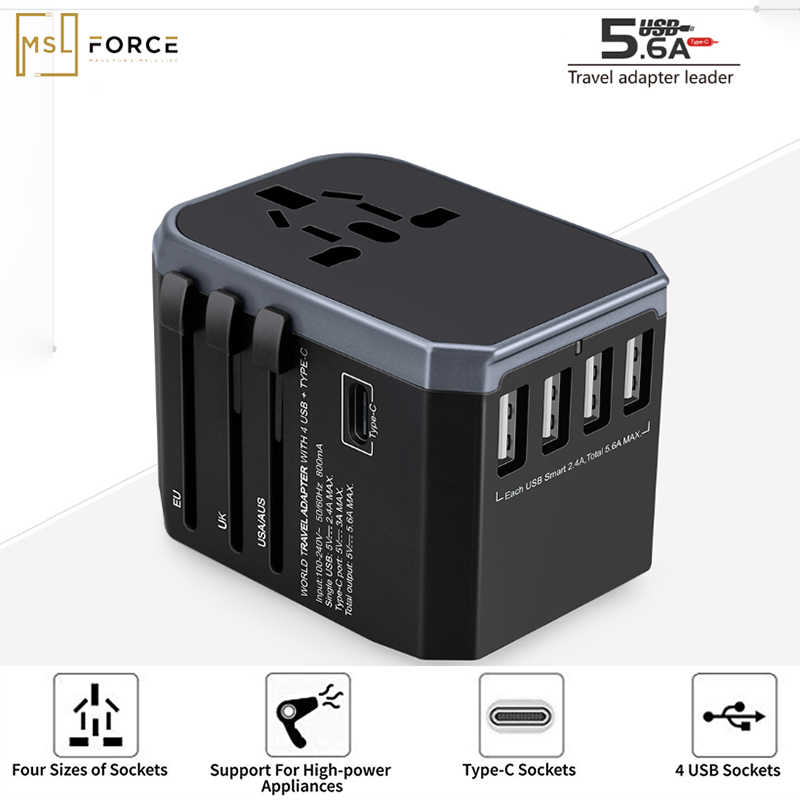 Pd 18W International Universal Travel Adapter 4 Port USB Wall Charger Colokan Listrik Soket Converter Uni Eropa US UK AU plug